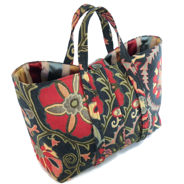 The Large Knitting Bag Teal Floral Tapestry