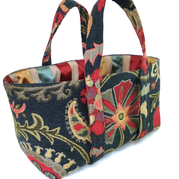The Small Project Bag Teal Floral Tapestry