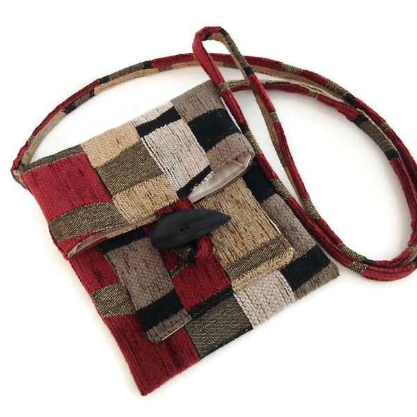 Tag Along Bag Red Black Geometrics