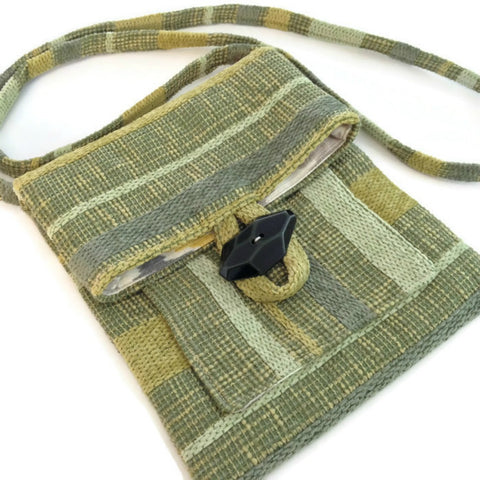 Tag Along Bag Green Woven Stripe