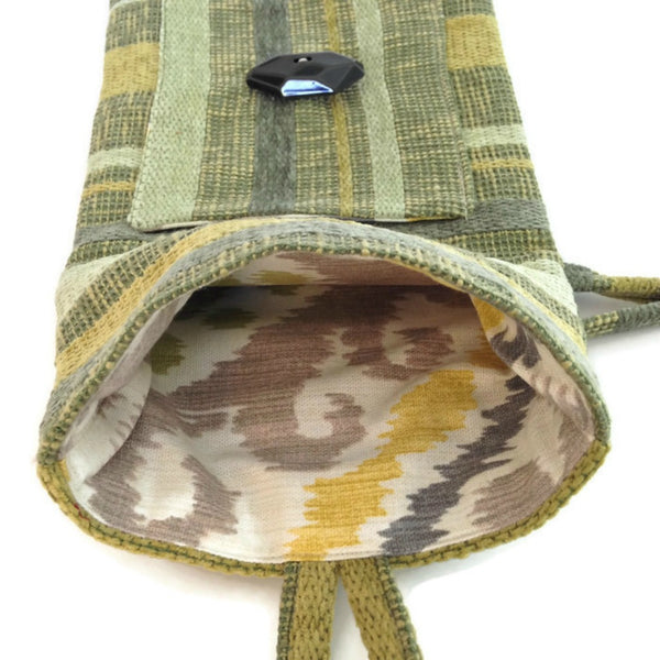 Tag Along Bag Green Woven Stripe - Buttermilk Cottage
