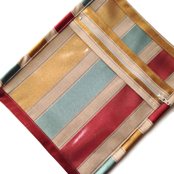 Accessory Bag Gold Aqua Stripe