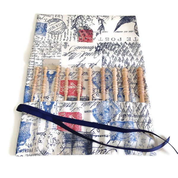 Complete Set Brittany Crochet Hooks  with French Postcard Fabric Roll Up Case - Buttermilk Cottage