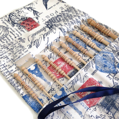Complete Set Brittany Crochet Hooks  with French Postcard Fabric Roll Up Case