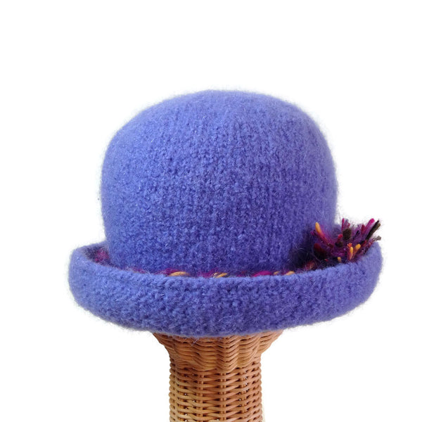 Bowler Style Felted Hat Periwinkle Wool