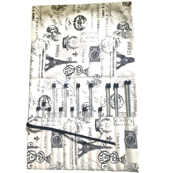15 Pocket Straight Needle Roll Up Case Black French Icons - Buttermilk Cottage - 4
