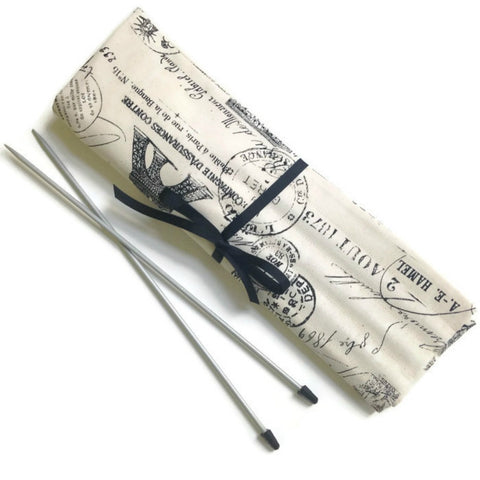 15 Pocket Straight Needle Roll Up Case Black French Icons - Buttermilk Cottage - 1