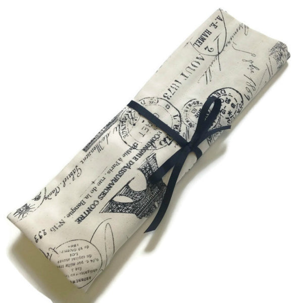 15 Pocket Straight Needle Roll Up Case Black French Icons - Buttermilk Cottage - 3