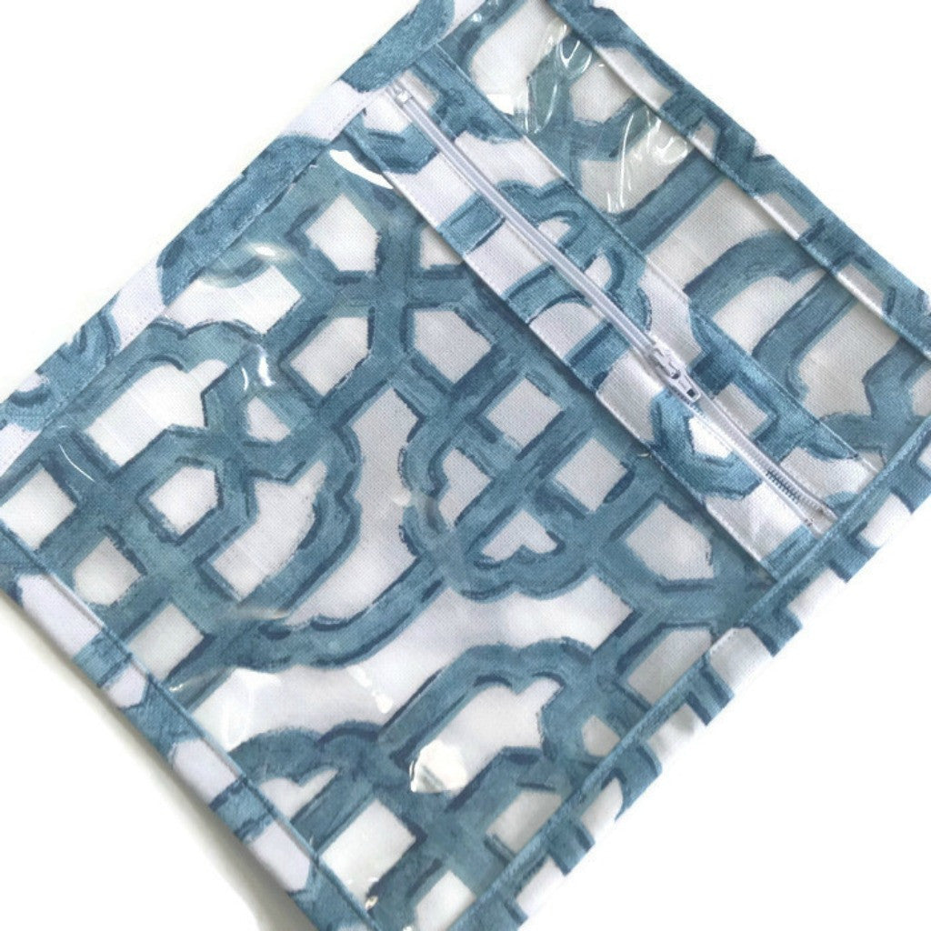 Accessory Bag Blue and White Fretwork