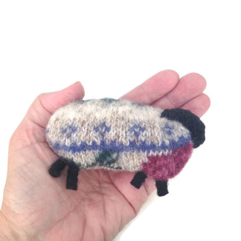 Felted Sheep Hand Warmers Rose and Beige Fair Isle