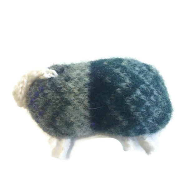 Felted Sheep Handwarmers Green Fair Isle