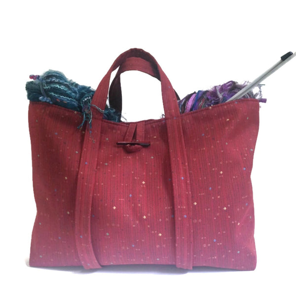 The Large Knitting Bag Red - Buttermilk Cottage