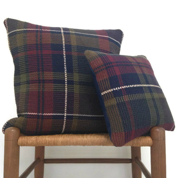 Sweater Pillow Set Olive Navy Plaid