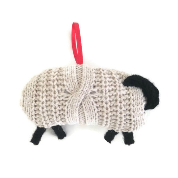 Up Cycled Cabled Sheep Ornament - Buttermilk Cottage