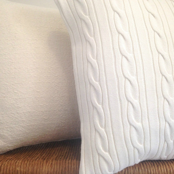 Sweater Pillow Set White Cable