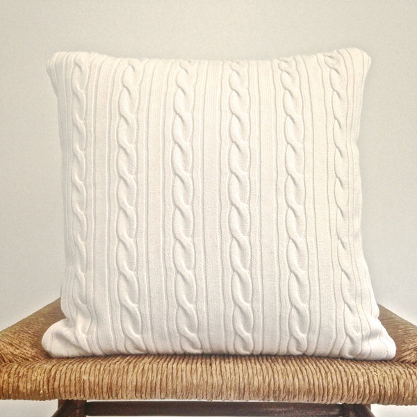 Sweater Pillow Single Soft White Cables