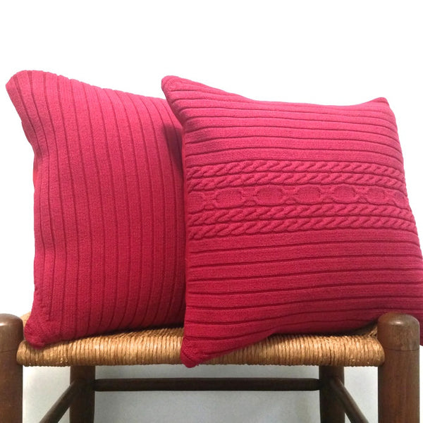 Sweater Pillow Set Red Cable