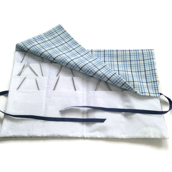 Circular Needle Case Blue Plaid - Buttermilk Cottage