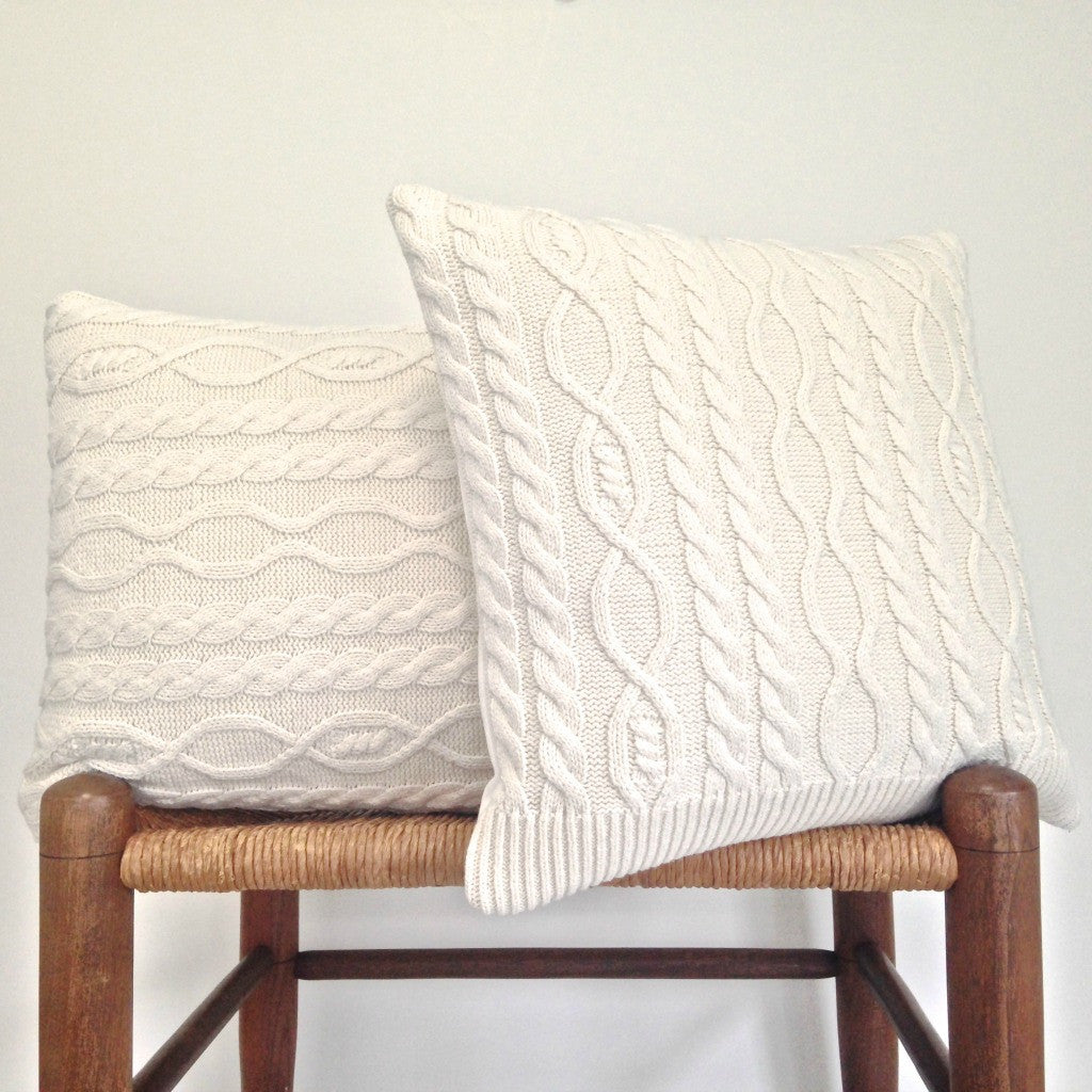 Sweater Pillow Set Off White Acrylic