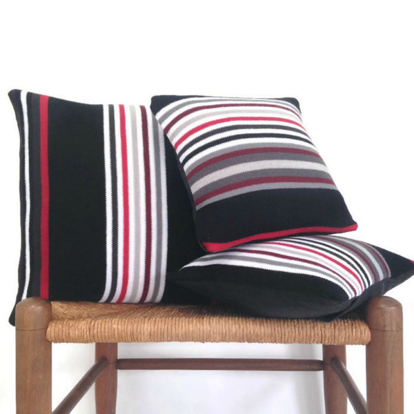 Sweater Pillow Set Black Striped