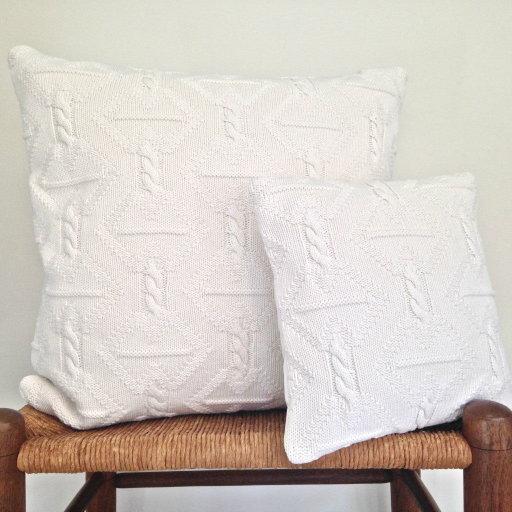 Sweater Pillow Set Nautical Winter White