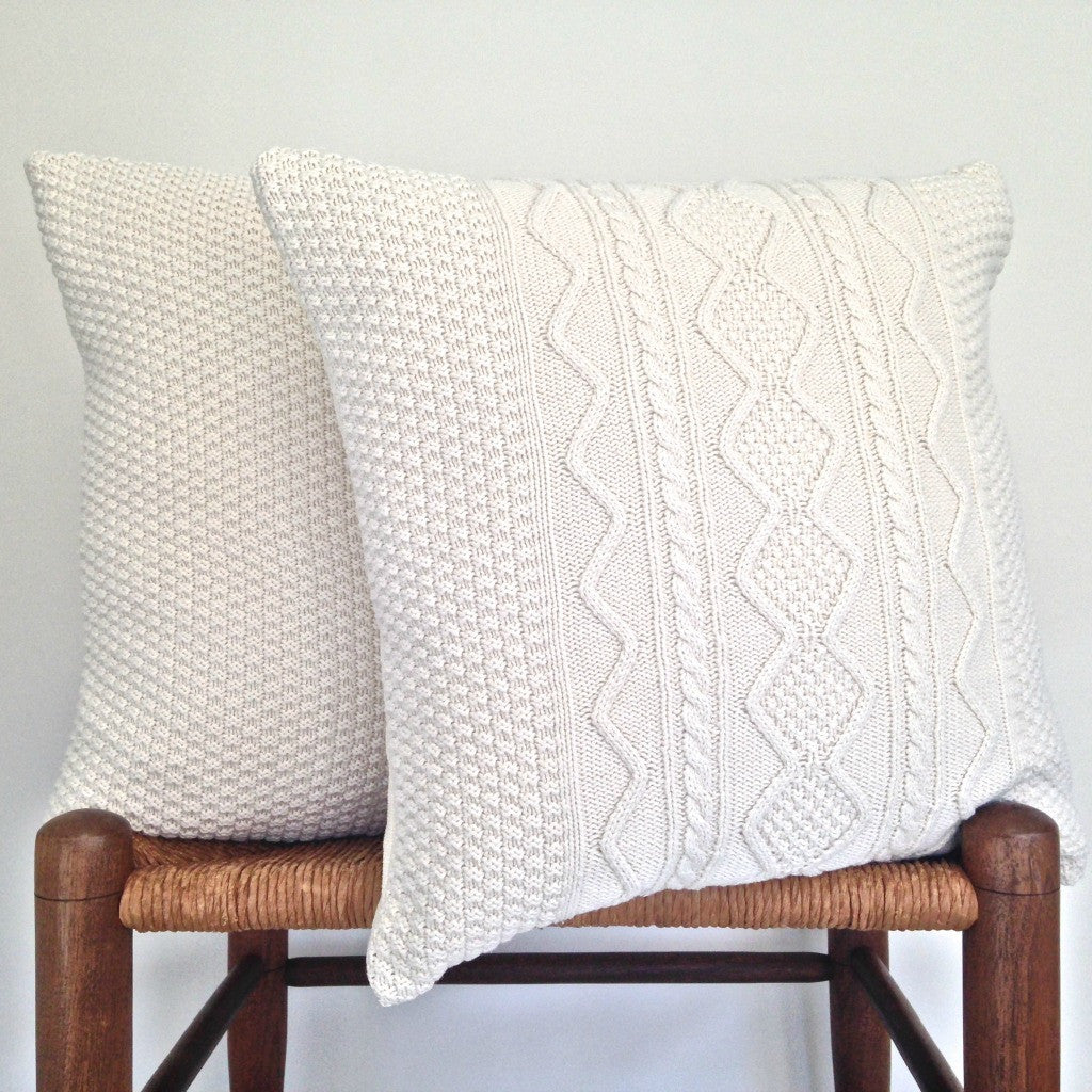 Sweater Pillow Set Ecru