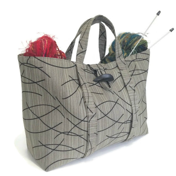 The Large Knitting Bag Taupe and Black Graphic