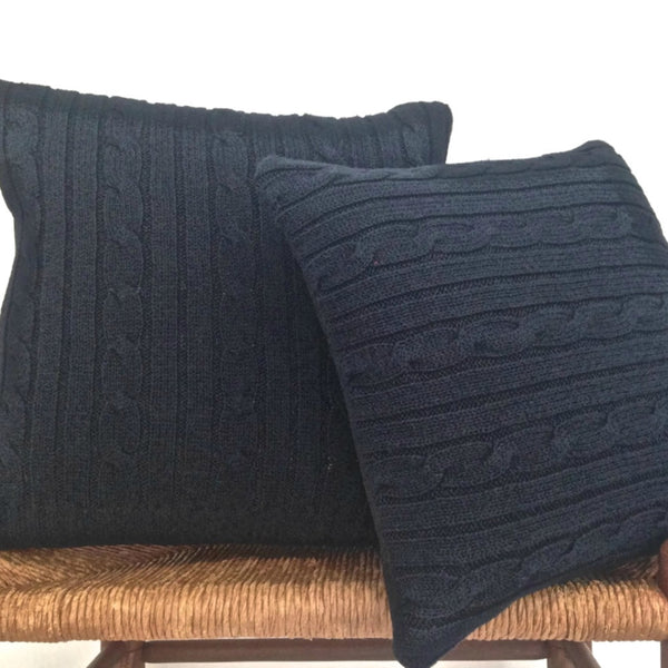 Sweater Pillow Set Navy Blue  Simple Cable