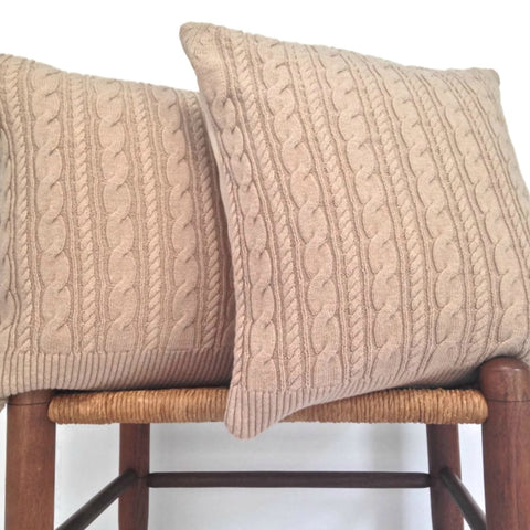 Sweater Pillow Set Beige Cable Knit
