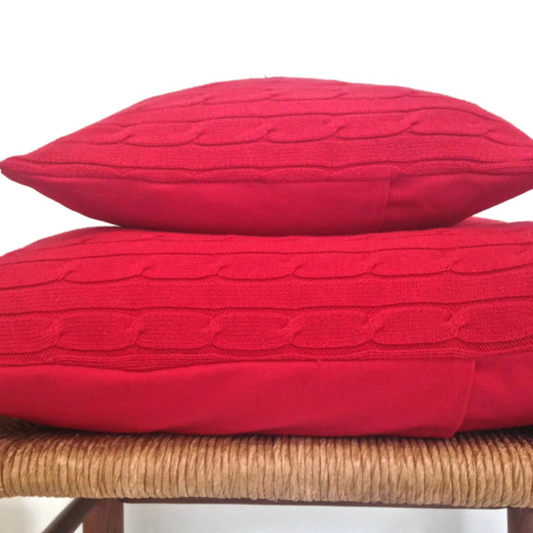 Sweater Pillow Set Red  Simple Cable