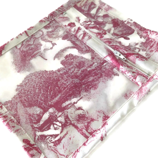 Accessory Bag French Toile Raspberry - Buttermilk Cottage