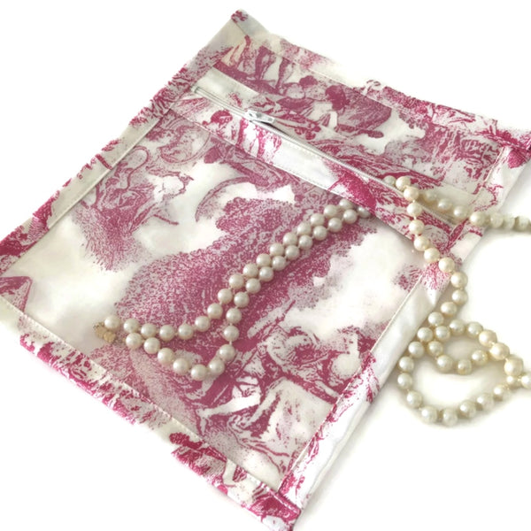 Accessory Bag French Toile Raspberry