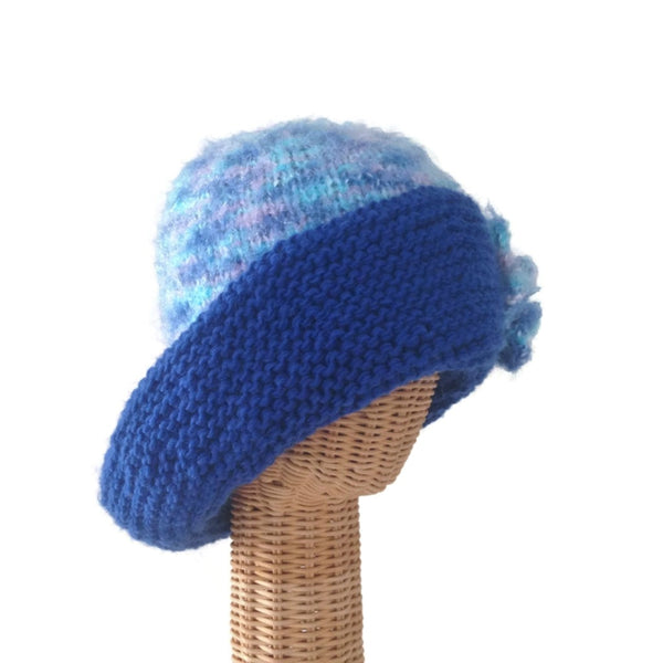 Cloche Flower Hat Wide Brim Blue