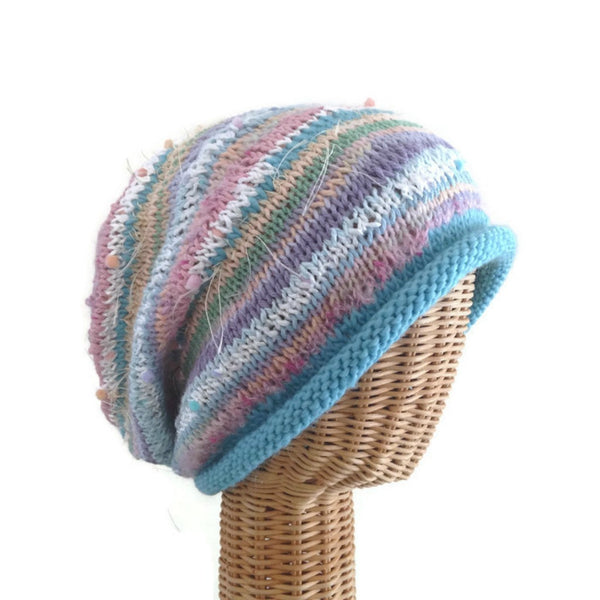 Slouchy Hat Blue Pastels FUSION
