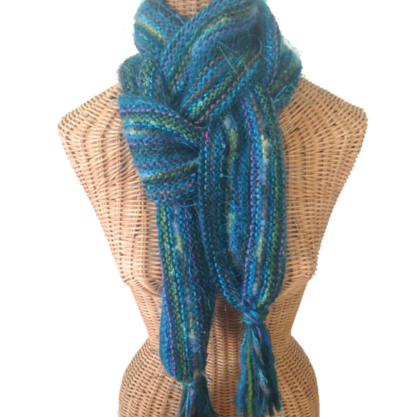 Hand Knit Scarf Teal FUSION - Buttermilk Cottage