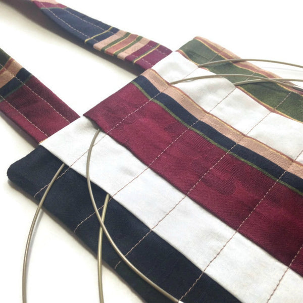 Hanging Circular Needle Organizer Burgundy, Navy, Olive Stripe - Buttermilk Cottage