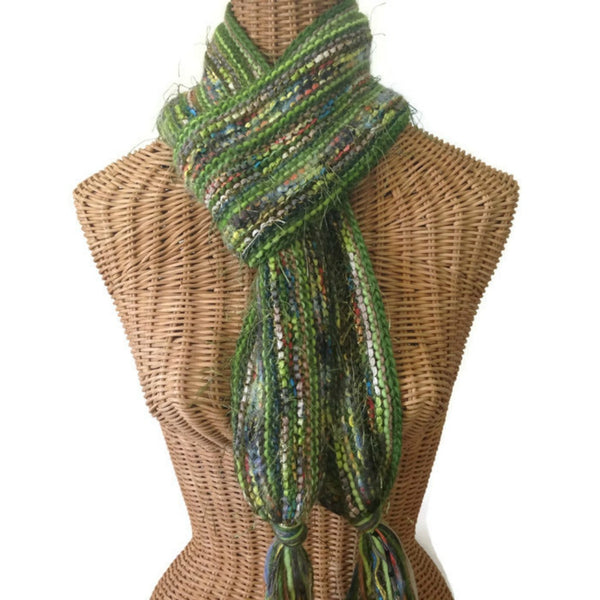 Hand Knit Scarf Green FUSION