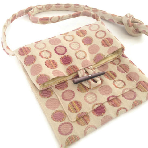 Tag Along Bag Beige Peach Circle Motif