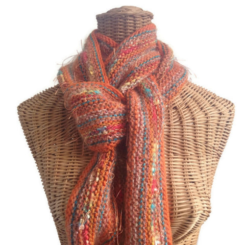 Hand Knit Scarf Orange FUSION