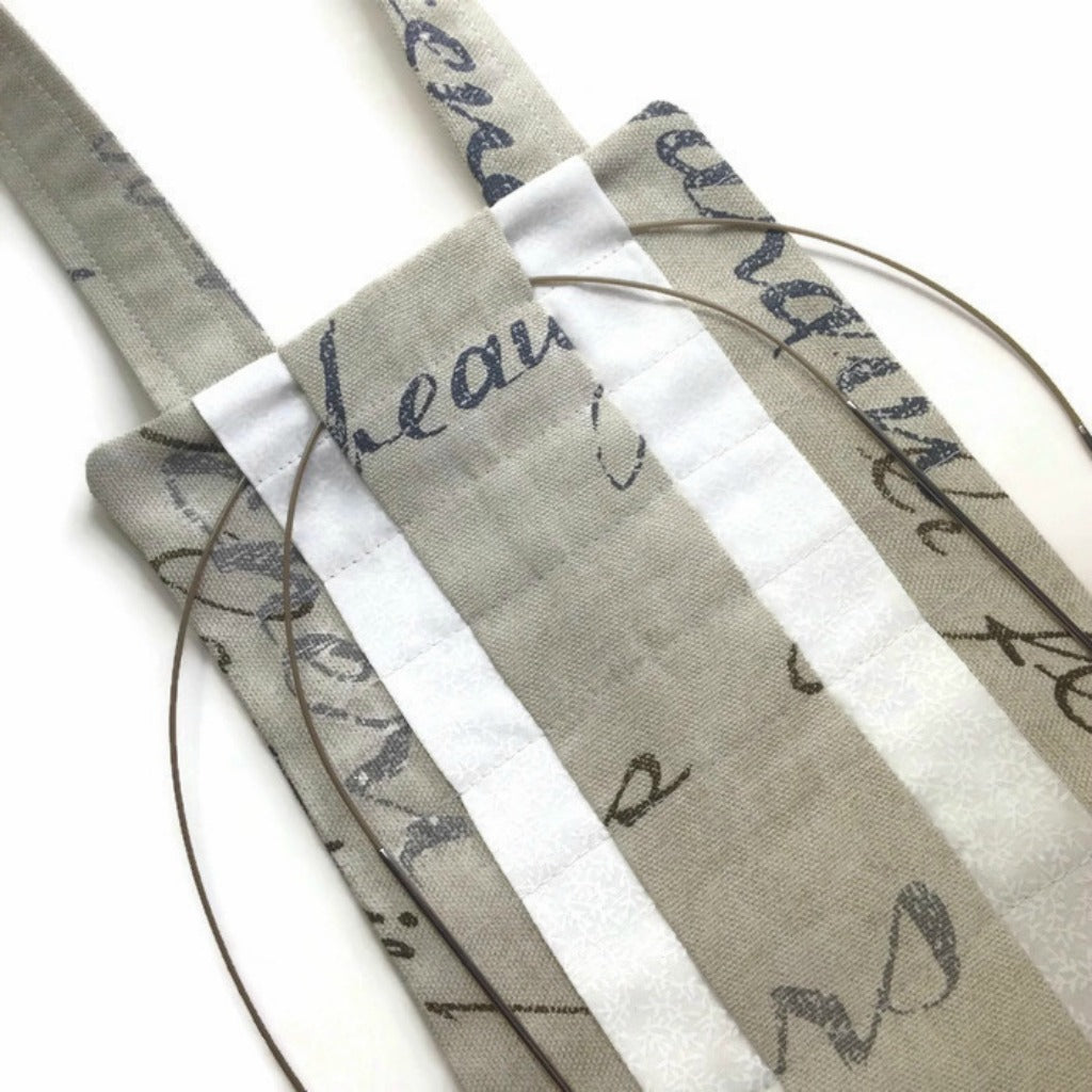 Hanging Circular Needle Organizer French Script Fabric