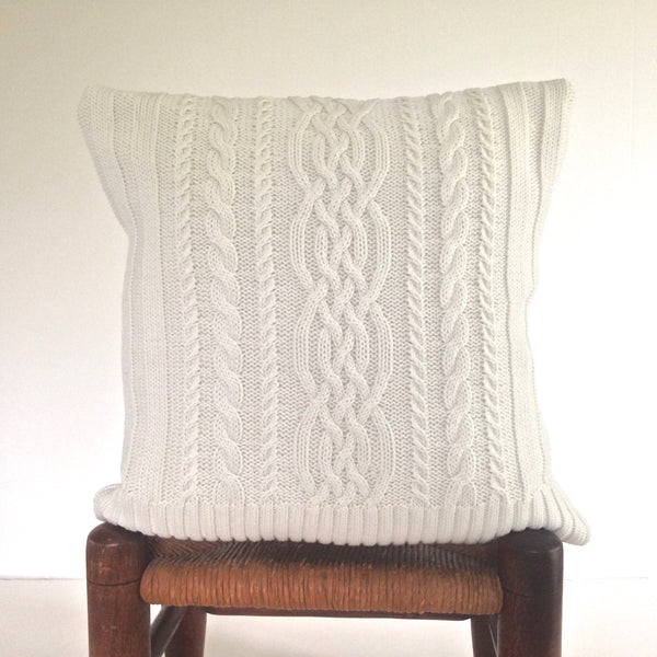 Sweater Pillow Single Off White Cable - Buttermilk Cottage