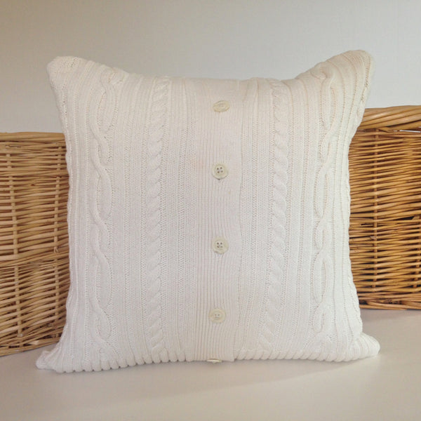 Sweater Pillow Single Off White Cardigan