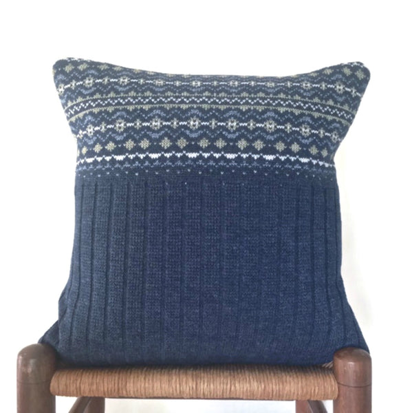 Sweater Pillow Set Indigo Blue Fair Isle