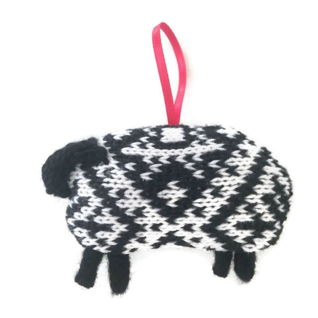 Scandinavian Style Black & White Sheep Ornament