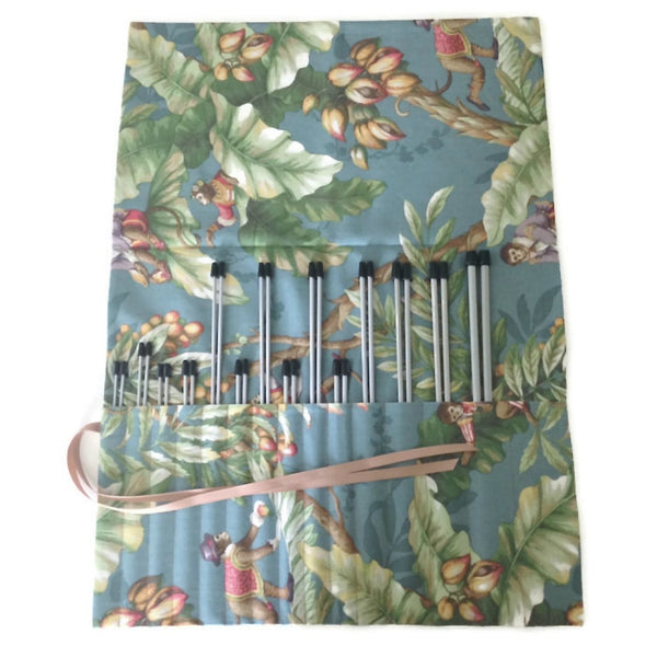 15 Pocket Straight Needle Roll Up Case Teal Blue Monkey Motif