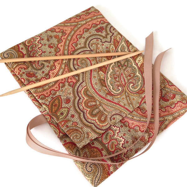 Double Point Needle Six OR Twelve Pocket Roll Up Brown Paisley