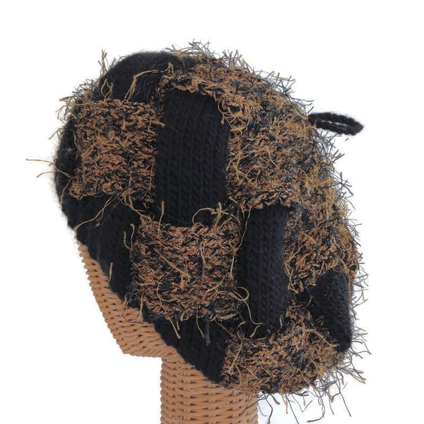 Entrelac Hat Black & Brown