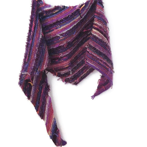 Triangular Scarf Wool Asymmetrical FUSION Purple