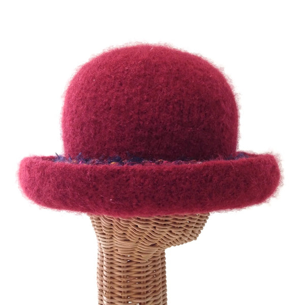 Bowler Style Felted Hat Red Wool