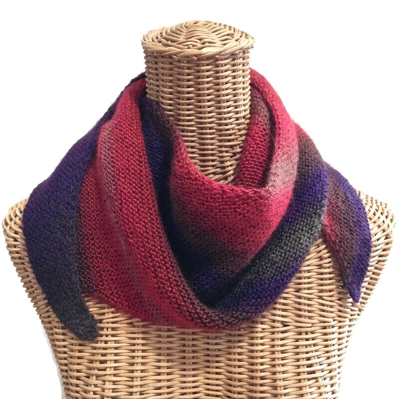 Triangular Scarf Wool Asymmetrical Light Weight